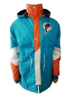 Miami Dolphins NFL Line Puffer Jacket Mens With Hood