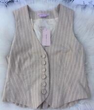 NEW $146 BCBG Max Azria Collection Dressy Tan Pinstriped Tuxedo Ruffle Vest Sz S
