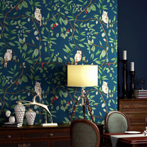 10M Tropical Designed Blue Italian Owl Leaves Pure Paper Wallpaper Textured Roll