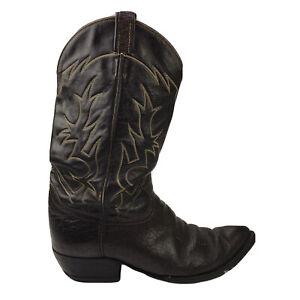 FOR REPAIR Vintage Tony Lama Black Label Brown Distressed Bullhide Cowboy Boots