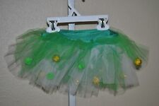 Green White & Gold Jester Tutu Skirt with Poms, Wide Elastic Waistband, One Size