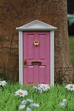 Closed Pink Fairy Door wooden, tooth fairy door, added glitter and sparkly knob