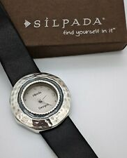Silpada Women's Hammered Sterling Silver Wristwatch with Leather Band - Works