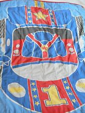 Vtg 70s 80s Toddler Race Car Quilt Blue Blanket Little Tikes Tykes Hard to Find