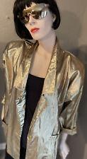 80's Magique Gold Metallic Jacket Rave Festival Indie Glam Oversized