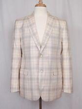 VALENTINO Collection Mens Cream Grey Check Cotton Blazer Jacket 42 R $1995