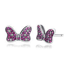 Latest Fashion Jewelry Disney Minnie Mouse Bow 925 Sterling Silver Stud Earrings