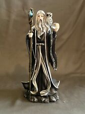 """10"""" Gothic Wizard Holding A Staff And Crystal Ball With A White Owl On His."""