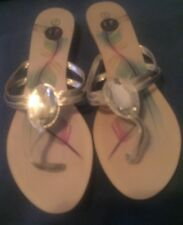 SANDALS w/ Silver Straps & Gem Stone Designed By IF CARRINI Size 7M