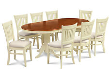 9 PIECE OVAL DINING ROOM TABLE SET w/ 8 SOFT-PADDED CHAIR IN BUTTERMILK & CHERRY