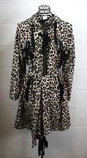RED VALENTINO Leopard Animal Print Brown Black Bow Rain Coat Trench Jacket 48 10
