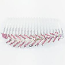 Hair Comb Hairpin use Swarovski Crystal Elegant Charming Leaf Silver PINK Z38
