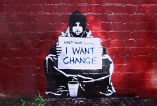Meek Poster Keep your coins I want change - Banksy Style und ein Ü-Poster