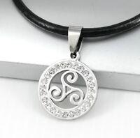 Silber Triskele Keltisch Edelstahl Anhänger Schwarz Leder Halskette Lederkette