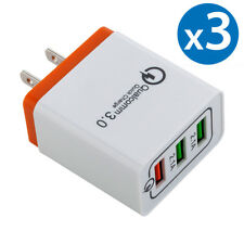 3x 30W 3-Port USB Wall Charger Double Quick 3.0 Ports For iPhone Samsung LG