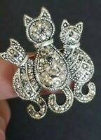 SILVER TONE  KITTENS/ CATS BROOCH PIN STANDING TOGETHER WITH MARCASITE ACCENTS