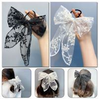Large Lace Bow Hairpin Hair Clip Women Girl Hair Rubber Band Rope Hair Accessory