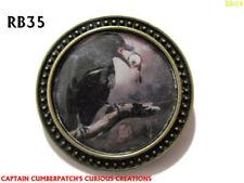 steampunk brooch badge pin gothic raven eyeball intelligence bad luck omen #RB35