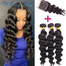 Peruvian Loose Deep Bundles with Lace Closure Loose Wave Weave Hair Extensions