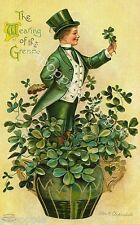 St Patrick's Day Fabric Block Vintage Postcard on Fabric Man in Tophat shamrocks