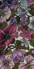"""Pair Vintage Floral handmade Curtains Pink lilac blue 60s 70s Cotton 45.5"""" x 46"""""""