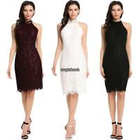 Halter Sleeveless Backless Bodycon Floral Lace Party Dress RLWH