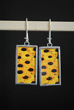 "Beautiful Unique Handmade Hanging Earrings *Sunflowers"" Image Silver Hook"