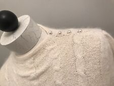 MI KI by Majectic Sweater Silk Angora Cream Cable Vintage  Women's Sz Med.