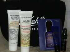 NEW KIEHL 4 PCS SKIN CARE/BODY CARE SET, WITH MAKE UP BAG, NIGHT SERUM, EYE, BOD