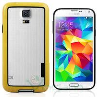 Pellicola+BUMPER Giallo Nero per Samsung Galaxy S5 SV SM-G900F cover custodia