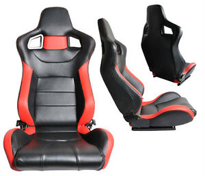 2 BLACK & RED PVC LEATHER RECLINABLE RACING SEATS FOR ALL FORD *
