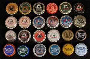 24 SAM ADAMS PLASTIC LINED BEER BOTTLE CAPS BOSTON, MASSACHUSETTS CROWNS SAMUEL+