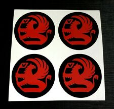 4 x 45mm Alloy Wheel stickers Red fits VAUXHALL center badge centre trim cap hub