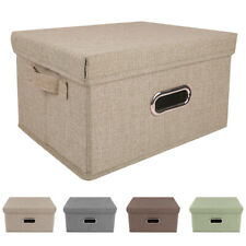 Collapsible Storage Bins Linen Fabric Foldable Boxes Organizer Containers Basket