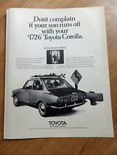 1970 Toyota Corolla Ad Skiing Theme Don't Comp.lain if your Son Runs Off with