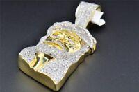 VVS1 Diamond Mini Jesus Face Piece 10K Yellow Gold Finish Pendant Charm 0.40ct.