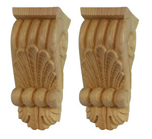 Home Decor Wooden Fireplace Corbels, Carved Pair Paint Grade Regency Style PG719