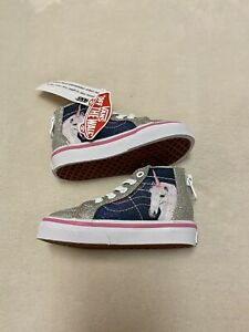Vans Girls Digi Unicorn Sk8-Hi Sneakers Shoes Zip High Top Glitter 4.5 Toddler