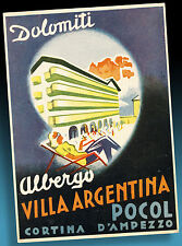 ALTER KOFFERAUFKLEBER | LUGGAGE LABEL 50er VILLA ARGENTINA DOLOMITI | ITALY