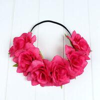 Women Girl's Flower Head Hollow Elastic Hair Band Headband Wedding Party Dress