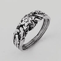 Puzzle Ring - 4 Bands Silver Sterling 925 - ROSE design OXIDIZED - Folding