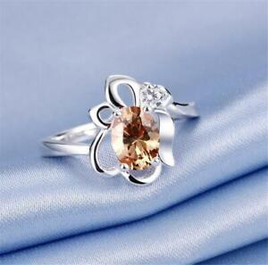 W0315...MORGANITE & CZ RING - SILVER PLATED - SIZE 8 - GIFT BOXED - FREE UK P&P