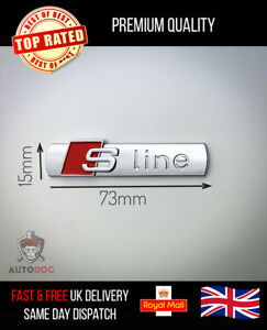 2x Audi S-Line Silver Badge Sticker Side Wing Emblem Fender TT RS
