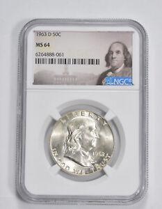 MS64 1963-D Franklin Half Dollar - 90% SILVER - - NGC Graded *194