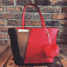 Womens Red & Blue Moda Tote Handbag Faux Leather & Free River Island Gift