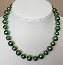 """16"""" 12 &10mm Dark Green Glass Pearl Necklace Golden Magnetic Clasp MA1230"""