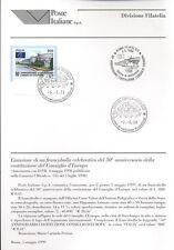 ITALIA 1999 COSTITUZIONE CONSIGLIO EUROPA BOLLETTINO COMPLETO DI FRANCOBOLLI FDC