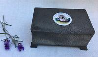 JT&C Vintage English Pewter Liberty Style Arts & Crafts Box Enamel Cheru Plaque