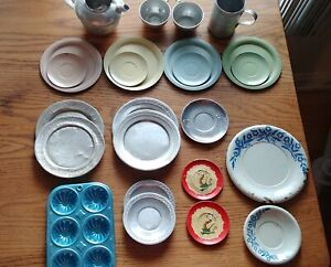 Vintage Metal Aluminum Toy Children's Play Dishes, Lot of 24 pcs.