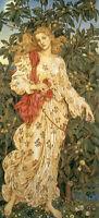 Handpainted Oil painting female portrait - Nice fairy girl Flora in spring field